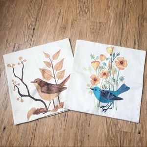 2 Burlap Accent Throw Pillow Covers Bird Printed